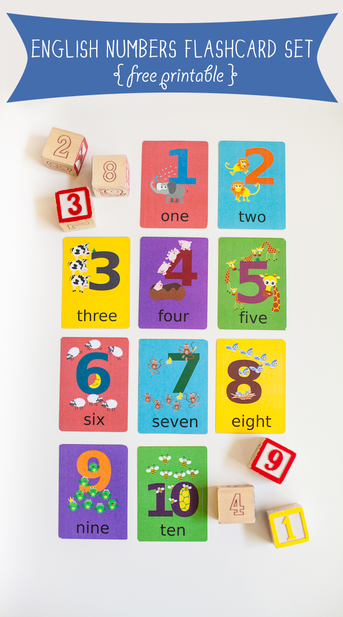Gus on the Go Free English Numbers Flashcard Printable