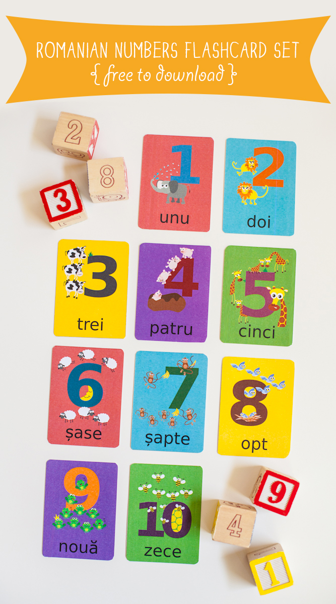 Gus on the Go Romanian Numbers Flashcard Printable
