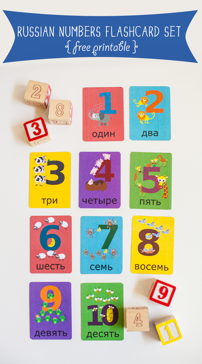 Gus on the Go Russian Numbers Flashcard Printable