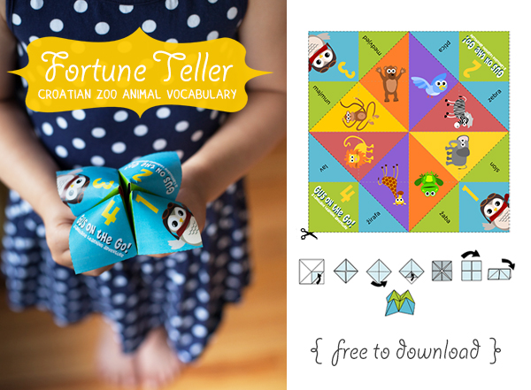 Gus on the Go Croatian Zoo Animal Fortune Teller Printable