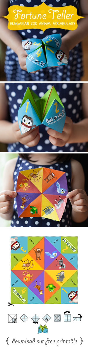 Gus on the Go Hungarian Zoo Animal Fortune Teller Printable