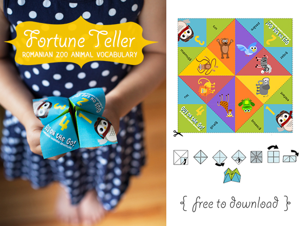 Gus on the Go Romanian Zoo Animal Fortune Teller Printable