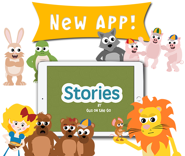 Learn a new language with Stories by Gus on the Go, an iOS language app for kids