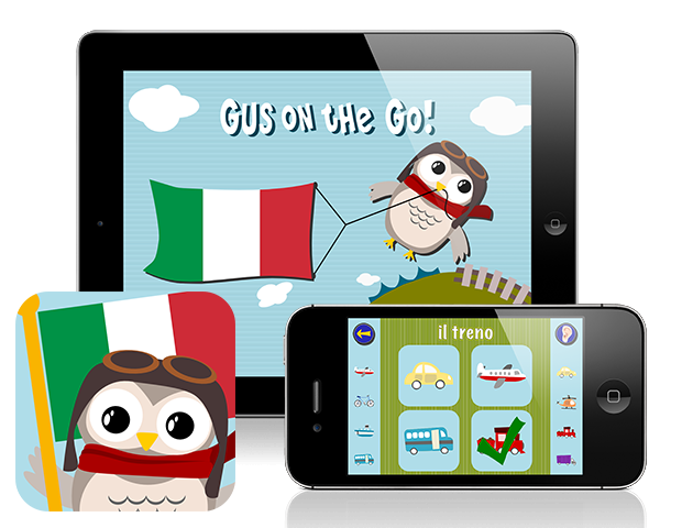 Gus on the Go: Italian, iOS and Android language app for kids