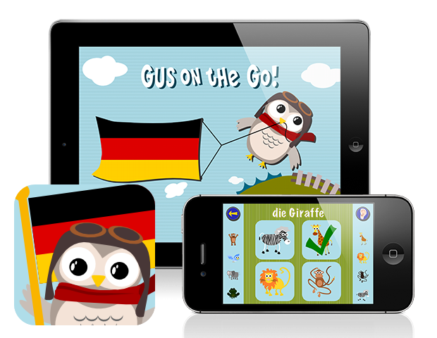 Gus on the Go: German, iOS and Android language app for kids