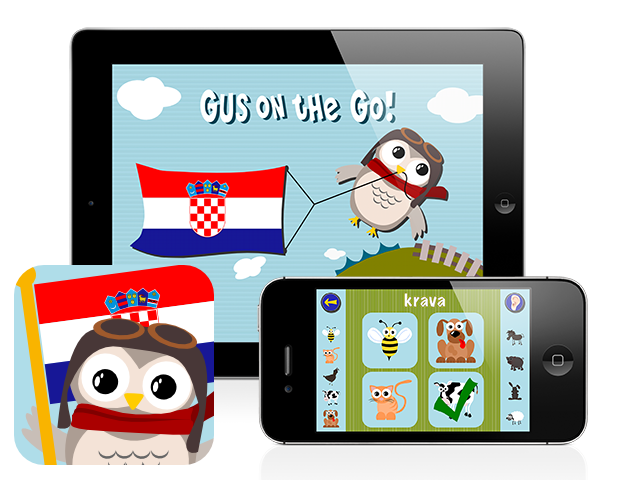 Gus on the Go: Croatian, iOS and Android language apps for kids