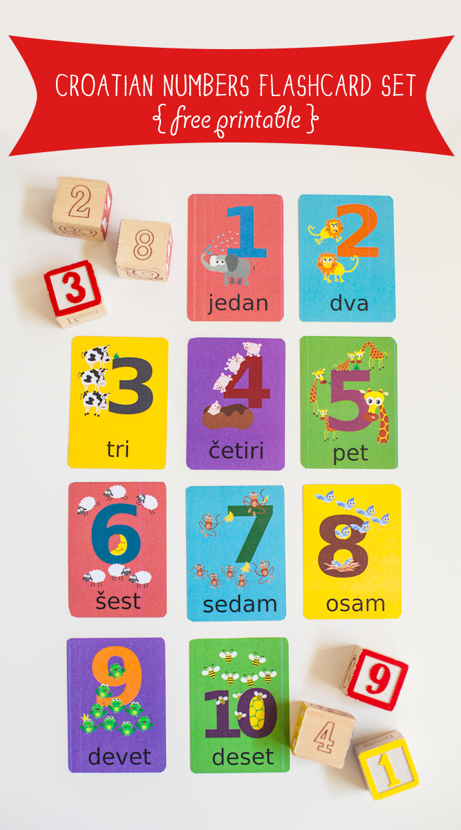 Gus on the Go Free Croatian Numbers Flashcard Printable