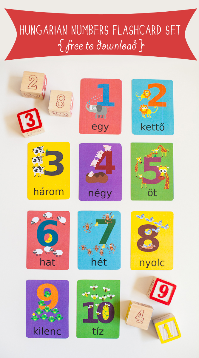 Gus on the Go Hungarian Numbers Flashcard Printable