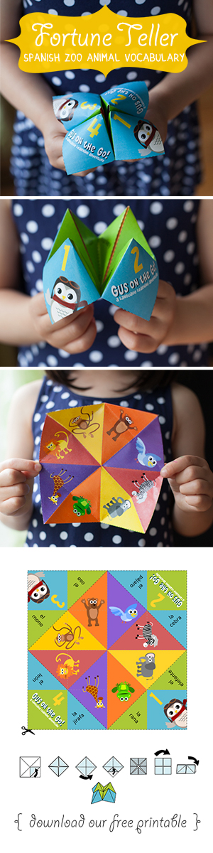 Gus on the Go Spanish Zoo Animal Fortune Teller Printable