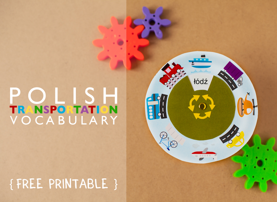 Gus on the Go Polish Transportation Vocabulary Wheel Printable