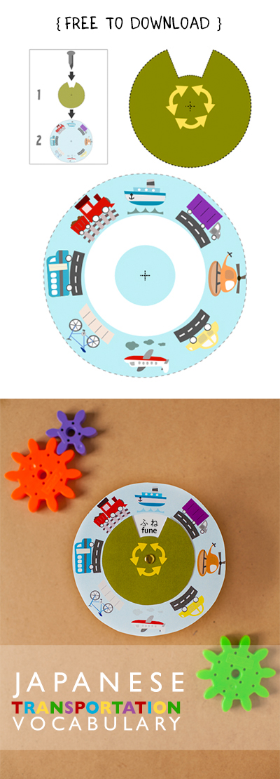Gus on the Go Japanese Transportation Vocabulary Wheel Printable