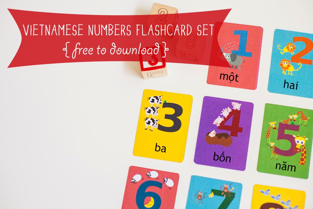Gus on the Go Free Vietnamese Numbers Flashcard Printable
