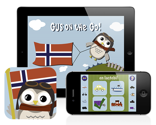 Gus on the Go: Norwegian for kids, iOS & Android language app